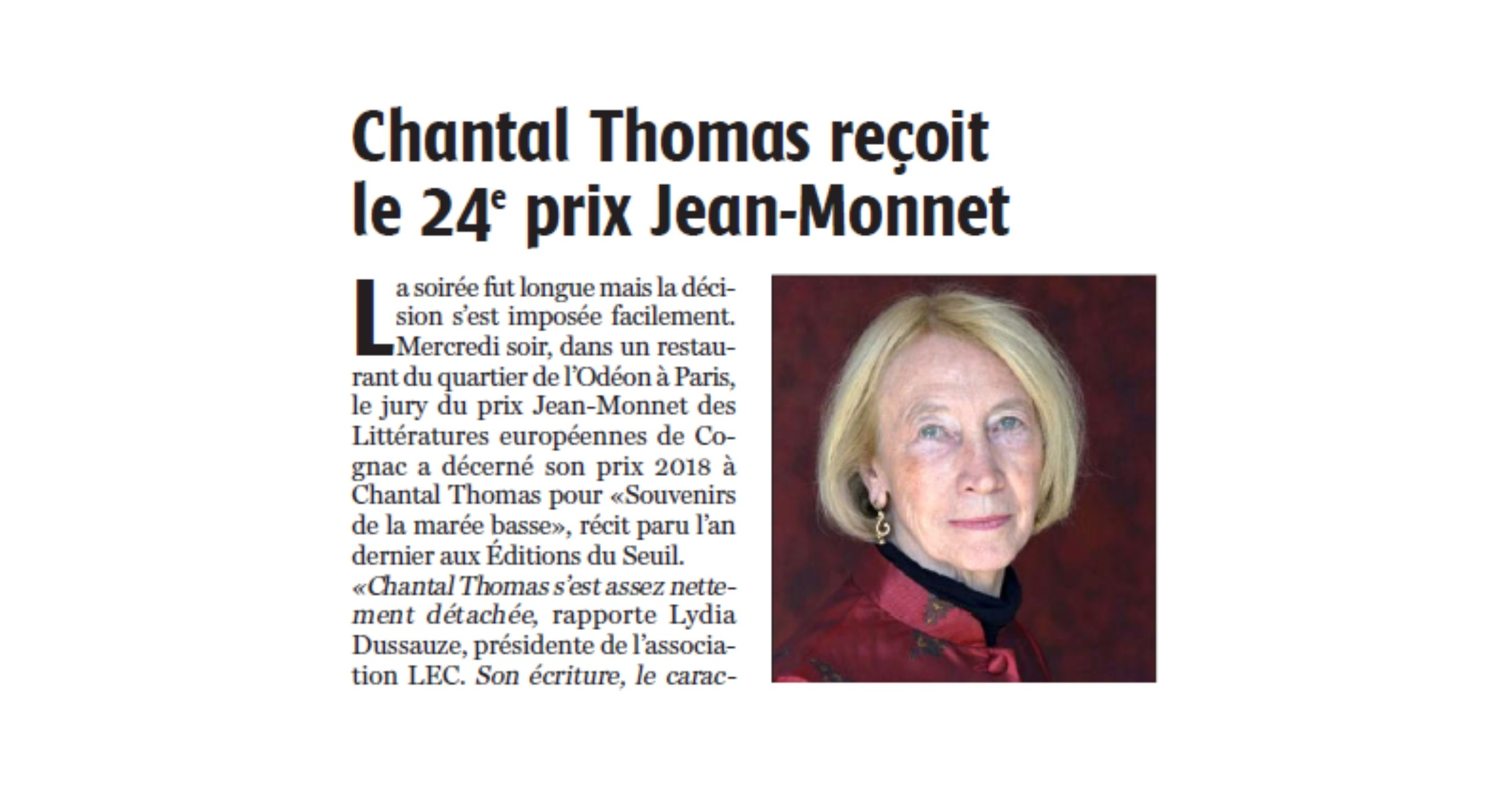 CHANTAL THOMAS LAURÉATE PRIX JM